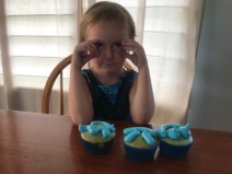 Making cupcakes for Solo's birthday